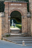 San Quirico d`Orcia, Tuscany, Italy - April  23, 2017: the entrance gate of the Horti Leonini, in San Quirico d`Orcia, Stock Image