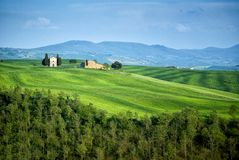 SAN QUIRICO D`ORCIA, TUSCANY, ITALY: Madonna of Vitaleta chapel and cypress trees in tuscan countryside landscape in val d`orcia. SAN QUIRICO D`ORCIA, TUSCANY Royalty Free Stock Image