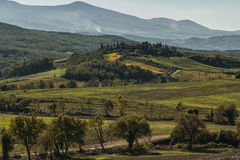 SAN QUIRICO D'ORCIA, TUSCANY / ITALY - OCTOBER 31, 2016: Beautiful tuscan landscape near San Quirico D'Orcia Stock Images