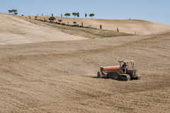 SAN QUIRICO D`ORCIA, TUSCANY / ITALY - OCTOBER 31, 2016: Undefined man on a tractor in the beautiful tuscan landscape Royalty Free Stock Images