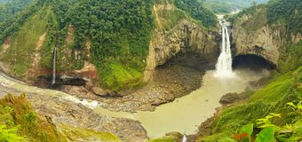 San Rafael Waterfall In Ecuador Panorama stock images