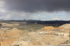 San Raphael Valley in southern utah. With the interstate in the back. Rain coming from the clouds Stock Image