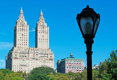 Skyline and view of the San Remo building with a lamp post in Central park, New York Royalty Free Stock Photo