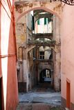 San Remo, Italy. Colorful houses in the small alleys of old town in San Remo, Italy Royalty Free Stock Image
