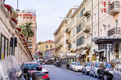 San Remo Main Street with parked cars Royalty Free Stock Images