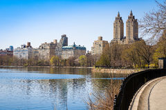 San Remo`s twin towers. Partial view of Central Park in Manhattan, featuring the San Remo`s twin towers stock images
