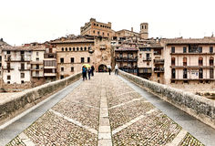 San Roque bridge in the Valderrobres village, Spain stock images