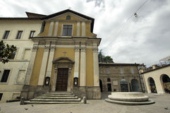 San Rufo church Rieti. Piazza San Rufo in Rieti is considered to be the exact centre of Italy (Umbilicus Italiae Stock Photography