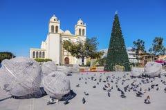 San Salvador Cathedral. On Plaza Barrios seen during Christmas. San Salvador, El Salvador stock photos