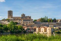 San Salvador Cathedral in Zamora, Castilla y Leon. Spain. San Salvador Cathedral of Zamora and acenas (water mills), view from Duero river. Castilla y Leon stock photography