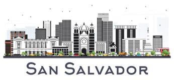 San Salvador City Skyline avec Gray Buildings Isolated sur le blanc illustration de vecteur