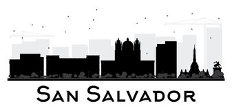 San Salvador City skyline black and white silhouette. Vector Illustration. Simple flat concept for tourism presentation, banner, placard or web site. Cityscape vector illustration