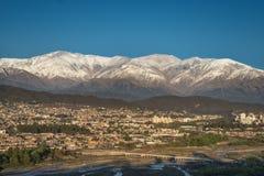 San Salvador de Jujuy. Capital of the province of Jujuy, northern Argentina, with snowy mountains near Humahuaca, World Heritage stock photos