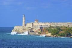 San Salvador de la Punta Fortress är en fästning i fjärden av havannacigarren, Kuba Fotografering för Bildbyråer