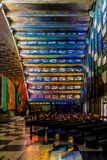 A typical view in San Salvador, El Salvador. San salvador, El salvador. January 2018. A view the beautiful interior with its stained glass windows of the Rosario stock photo