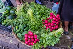 A typical view in San Salvador in El Salvador. San Salvador. February 2018. A typical view of a vegetable market stall in San Salvador in El Salvador stock images