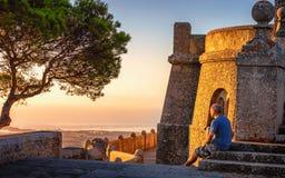 Tourist at San Salvador Mallorca. royalty free stock photography