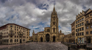 San Salvador. Plaza de Alfonso II El Castro, or Plaza de la Catedral in Oviedo, Spain stock image