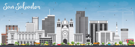 San Salvador Skyline with Gray Buildings and Blue Sky. Vector Illustration. Business Travel and Tourism Concept with Modern Architecture. Image for Stock Image