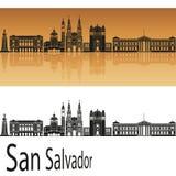 San Salvador Skyline. In orange background in editable vector file Stock Photos