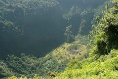 San Salvador vulcano crater `ElBoquerón`. San Salvador Vulcano crater. View of the ravine of the crater from the National Park `El Boquerón` lookout at stock image