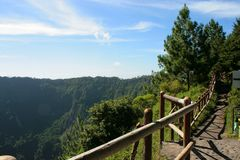 `San Salvador` vulcano lookout fence landscape. San Salvador Vulcano National Park lookout. View of the fence at day light, and a bunch of pine trees at the stock image