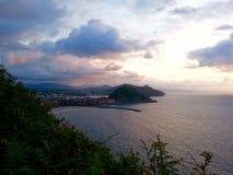 San Sebastián, España en la puesta del sol Fotos de archivo