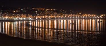 San Sebastián Strand nachts Stockbilder