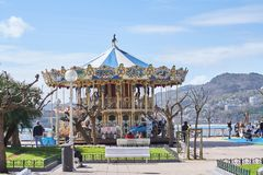 Free San Sebastián, Donostia, Basque Country, Spain; 03-18-2019 Old Children`s Carousel Located On The Seafront Of The Concha De San Royalty Free Stock Photo - 142776995