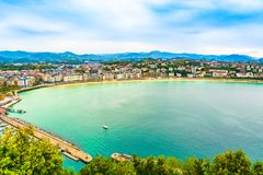 Aerial view of San Sebastian and the Bay of Biscay, Basque Country, Spain. San Sebastian, Basque Country, Spain: Aerial landscape of the Bay of Biscay. Holiday stock image