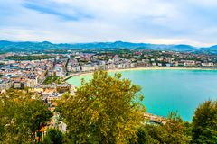 Aerial view of an Sebastian and the Bay of Biscay, Basque Country, Spain. San Sebastian, Basque Country, Spain: Landscape of the Bay of Biscay. City also called stock photos