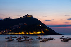 San Sebastian Bay et Monte Igueldo, Espagne Photos stock
