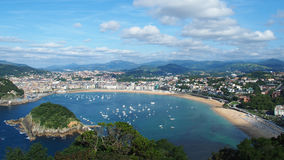 San Sebastian bay. (La Concha) and city (Donostia). Spain Royalty Free Stock Photo