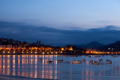 San Sebastian Bay at Night, Spain Royalty Free Stock Photos