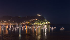 San Sebastian beach at night Stock Images