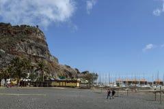 San Sebastian capital la La Gomera, repéré de la plage noire Photographie stock