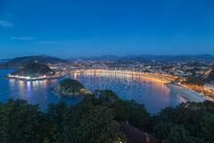 San Sebastian city ans La Concha beac Royalty Free Stock Photos