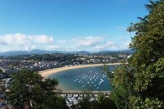 San Sebastian Donostia at Biscay bay coast, Spain. Royalty Free Stock Images
