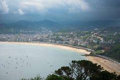 San Sebastian Donostia at Biscay bay coast, Spain. Stock Images