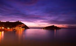 San Sebastian. Donostia San Sebastian European Capitals of Culture 2016 sunset royalty free stock photo