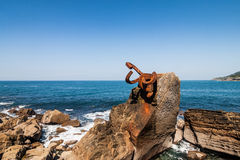 San Sebastian. El Peine de Los Vientos, the famous sculpture by Chillida in San Sebastian, Euskadi Royalty Free Stock Photography