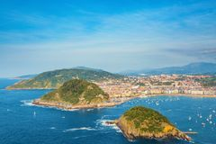 San Sebastian Euskadi, Basque Country, Spain. Panoramic view of the bay royalty free stock photos
