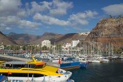 San Sebastian is het kapitaal van La Gomera, Canarische Eilanden beroemd voor zijn aard Dit is de haven waar alle veerboten van royalty-vrije stock fotografie
