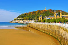 Losu Angeles Concha plaża w San Sebastian, Hiszpania obrazy royalty free