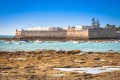 San Sebastian kasztel, Cadiz, Hiszpania Zdjęcie Royalty Free