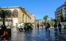 San Sebastian main square on a sunny daythe Basque Country, Northern coast of Green Spain stock photo