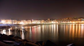 San sebastian night. Night scene of San Sebastian, vasque country Stock Photography