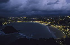 San Sebastian-night view. Bay of San Sebastian by night, view from Monte Igueldo, basque country, Spain Royalty Free Stock Photography