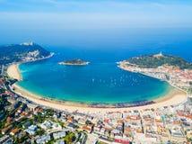 San Sebastian powietrzny panoramiczny widok zdjęcia stock