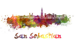 San Sebastian skyline in watercolor Stock Image